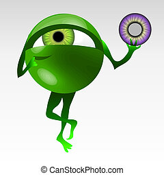 Eyeball mascotte - Thoughtful green eyeball mascot with...