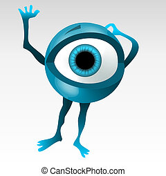 Blue eyeball mascotte - Frightened 3D styled bleu eyeball...