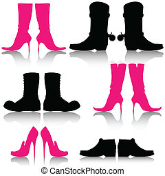 Shoes - Illustration of silhouettes of shoes on a white...
