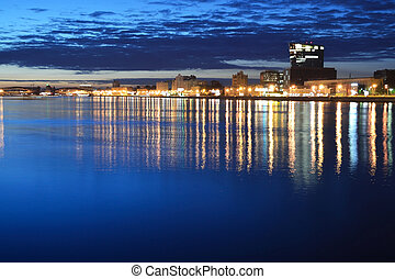 View of Neva river at night, St.Petersburg, Russia