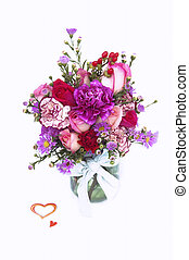 Valentine Fresh Flower Bouquet in a Glass Jar