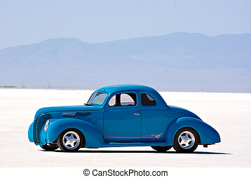 Classic Car - An old classic car on the Bonneville Salt...