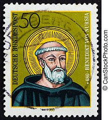 Postage stamp Germany 1980 St. Benedict of Nursia - GERMANY...