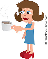 Woman Drinking Coffee - Woman drinking from a mug