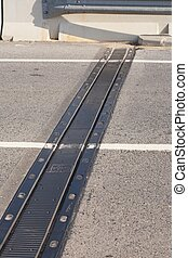 Board of expansion - Expansion joint on a bridge open to...