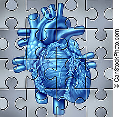 Human Heart Puzzle - Human heart symbol on a jigsaw puzzle...