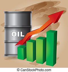 Crude oil price rise - abstract illustration with barrel and...