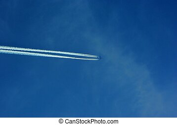 Jet Plane With Trace In The Sky