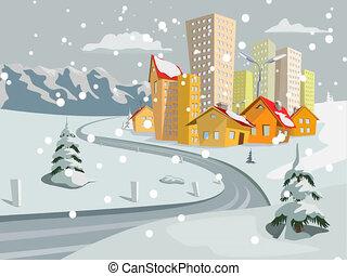 Vector city Falling snow