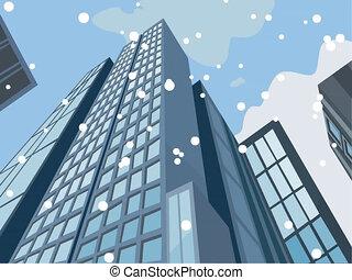 Falling snow and skyscraper