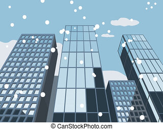 Falling snow and skyscraper