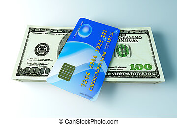 Credit Card and Cash - 3D rendered Illustration Credit card...