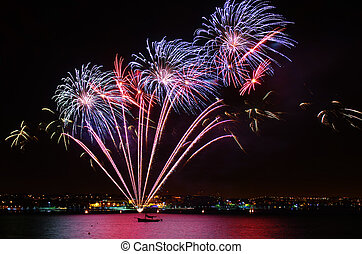 Colorful Fireworks - New year celebration with colorful...