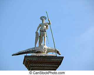 Venice Piazetta - sculpture of St Theodore, Venices first...