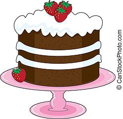 Strawberry Shortcake with whipped cream icing and fresh...