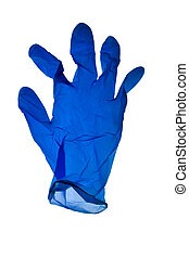 Blue latex glove on white background