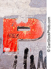 Letter P painted on the wall