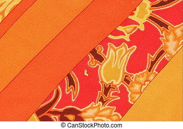 apelsin, blommig, bakgrund, mönster