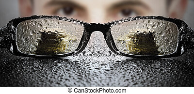 Unclear business - Young businessman looking at glasses