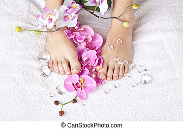 beauty concept - A beauty concept - feet with acrylic...