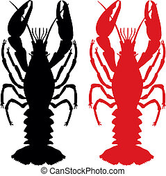 Craw fish silhouette - Craw fish vector silhouette