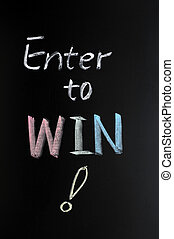 Enter to win with a big question mark written in chalk on...