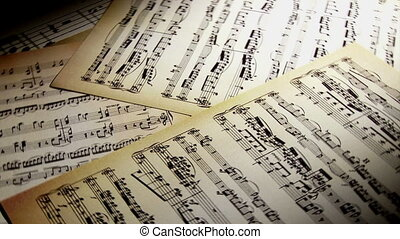 Sheet music, notes, spin closeup