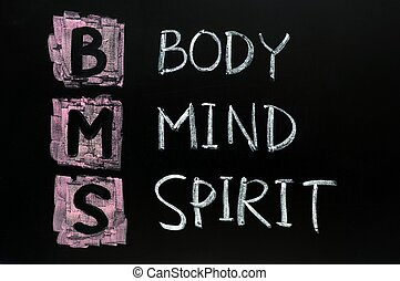 Body,mind and spirit concept written in chalk on blackboard