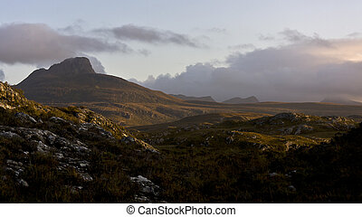 big mountain in evening light - big scottish mountain with...