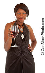 Woman Serving a Glass of Red Wine - An happy african...