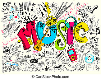 Music Doodle - illustration of music background in doodle...