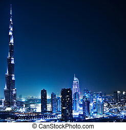 Dubai downtown at night - Dubai downtown night scene with...