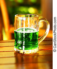 Green fresh clover border - Cold green beer for stPatricks...