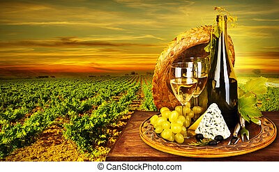 Wine and cheese romantic dinner outdoor, table for two with...