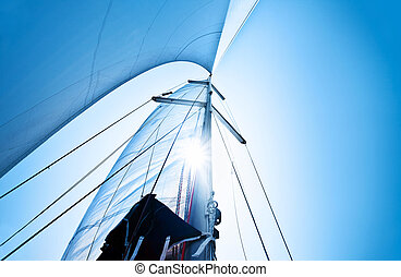 Sail over blue sky - Sail over clear blue sky, sailboat over...