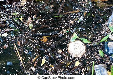 Water pollution garbage in river