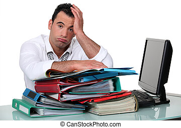 Overworked, escritório, trabalhador