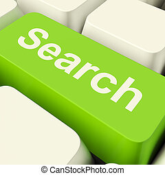 Search Computer Key Green Showing Internet Access And Online...