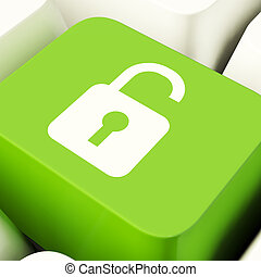 Unlocked Padlock Computer Key In Green Showing Access And Protection