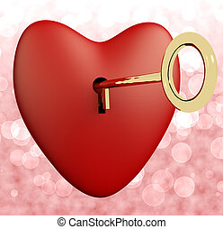 Heart With Key And Pink Bokeh Background Showing Love Romance And Valentine