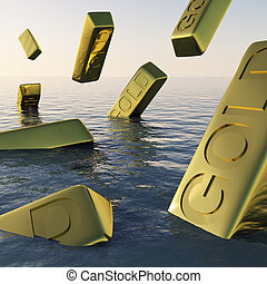 Gold Bars Sinking Showing Depression Recession And Economic...
