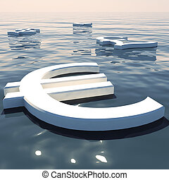 Euro Floating And Currencies Going Away Showing Money Exchange And Forex