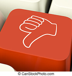 Thumbs Down Icon Computer Key Showing Dislike Failure And...