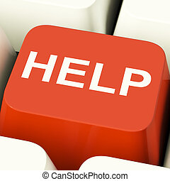 Help Computer Button Showing Assistance Support And Answers