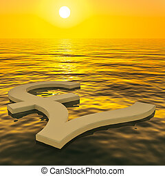 Pound Floating And Sunset Showing Money Wealth Or Earnings -...