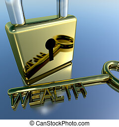 Padlock With Wealth Key Showing Riches Savings And Fortune