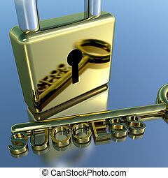 Padlock With Success Key Showing Strategy Planning And...