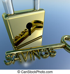 Padlock With Savings Key Showing Investment Growth And Wealth