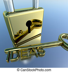 Padlock With Ideas Key Showing Improvement Concepts And...