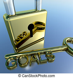 Padlock With Goals Key Showing Objectives Hope And Future -...